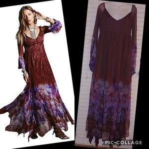 Free people dazed dream merlot purple maroon maxi